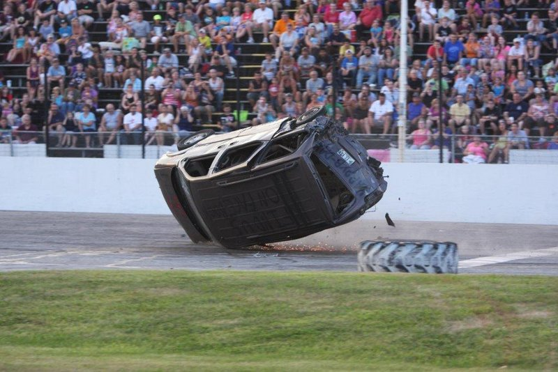 During Car Wars at Beech Ridge Motor Speedway, drivers collide and sometimes flip. New at Car Wars this year are drag races, in which contact is not recommended.