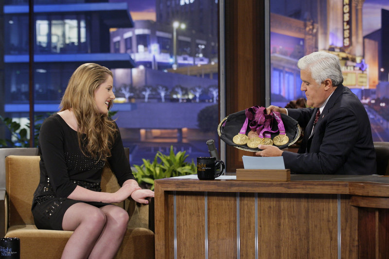 "Olympic swimmer Missy Franklin and Jay Leno tape ""The Tonight Show"" on Wednesday in Burbank, Calif. His current salary is $25 million to $30 million. His new salary will likely be around $20 million, a source says. NBC is under pressure from parent Comcast Corp. to cut costs."
