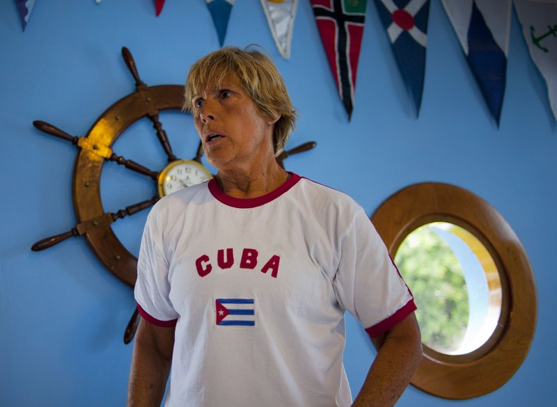American endurance athlete Diana Nyad holds a news conference Saturday in Havana to announce her latest attempt to swim from Cuba to the Florida Keys without a shark cage.