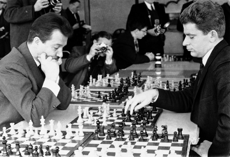 Svetozar Gligoric, left, of Yugoslavia and Boris Spassky of the USSR compete in the 1965 International Chess Congress in Hastings, England.