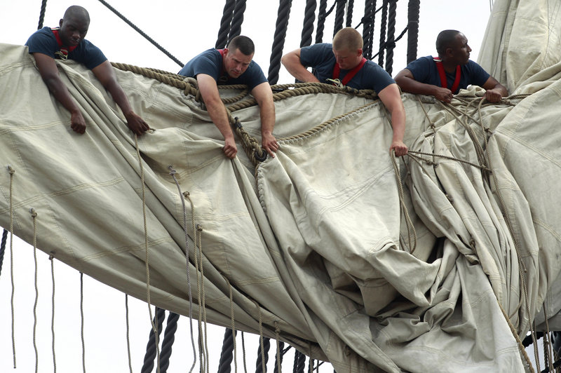 The USS Constitution, the Navy's oldest commissioned warship, sails under its own power for the first time since 1997.