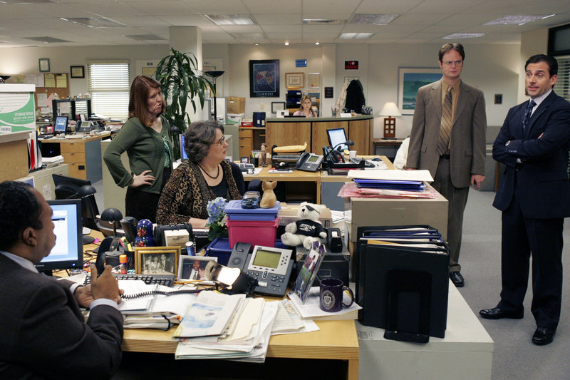 "A photo supplied by NBC shows a scene from ""The Office"" with Steve Carell, right, as Michael Scott. The show's ratings slipped last season after Carrell left."