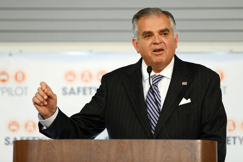 U.S. Transportation Secretary Ray LaHood, seen at a news conference for the Connected Vehicle pilot program in Ann Arbor, Mich. on Tuesday, hopes the test will pave the way for nationwide use of interconnected vehicles.