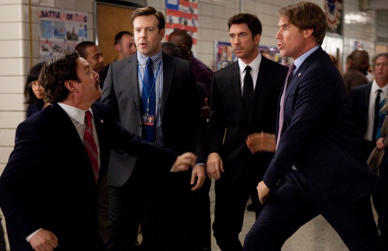 "Zach Galifianakis, left, Jason Sudeikis, Dylan McDermott and Will Ferrell in ""The Campaign."""