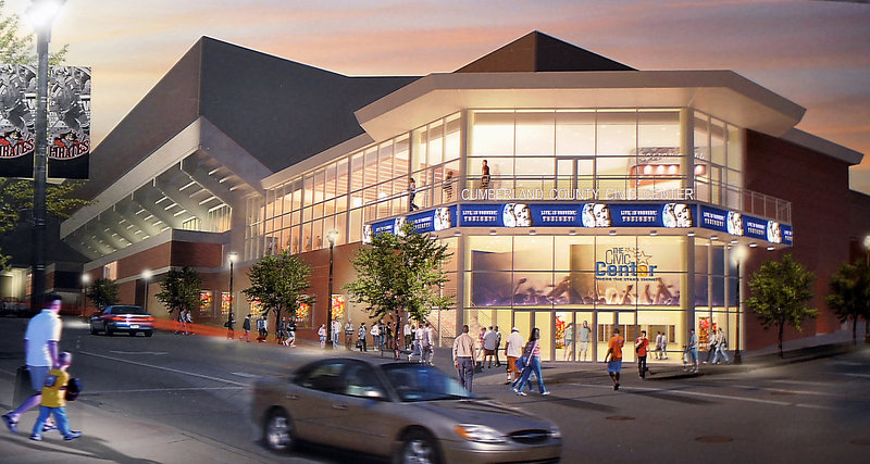 Construction of the civic center's new main entrance at the corner of Spring and Center streets — pictured above — will begin in April, during phase two of the renovations. The steep set of current stairs, seen in the below photo, will be removed in favor of a more welcoming design.
