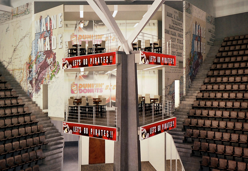 Artists' rendering: A drawing superimposed over a photo of current civic center seating depicts two corner suites that will be included in the building's $33 mllion renovation. Work on premium seating will be part of the project's second phase, which will begin after the hockey season ends.