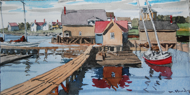 """Old Kennebunk River Front,"" above, by DeWitt Hardy."