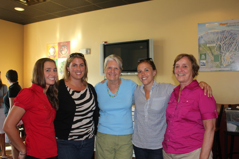 At the Fight Back Happy Hour on Tuesday, from left, Hannah Kinney, Kelly MacVane, Kathy MacVane, Jessica Wolinsky and Cathy Wolinsky, a cancer survivor and Cancer Community Center Buddy volunteer.