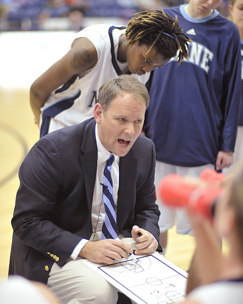 UMaine women's basketball coach Richard Barron says he recruited outside Maine because only five players were returning and he needed to find good players fast. Nine freshmen from other states and countries will join the team this year.