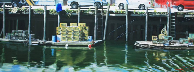 """Maine Wharf III"" by Francine Schrock, one of the 11 artists in the Saccarappa Art Collective who are opening a new gallery on Friday in downtown Westbrook."
