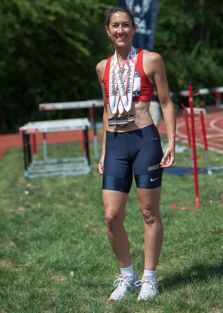 Sue McCarthy of South Portland won three medals earlier this month at the USA Masters Track and Field Championships in Lille, Ill. McCarthy placed second in the 100 and 200 meters in the 45-49 age group, and was on the winning 4x100 relay team.