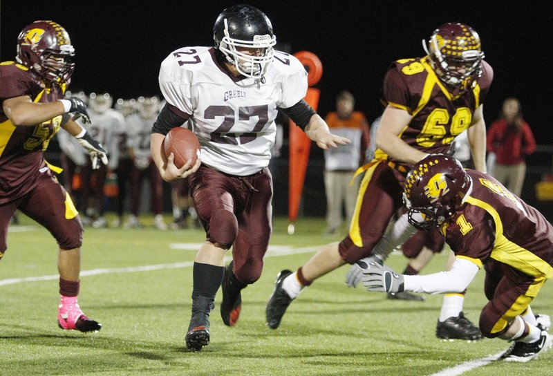 Svenn Jacobson of Greely has the moves, not only as an all-conference running back but also at linebacker. He will be counted on as the Rangers hope to advance past the first round of the Western Class B playoffs.