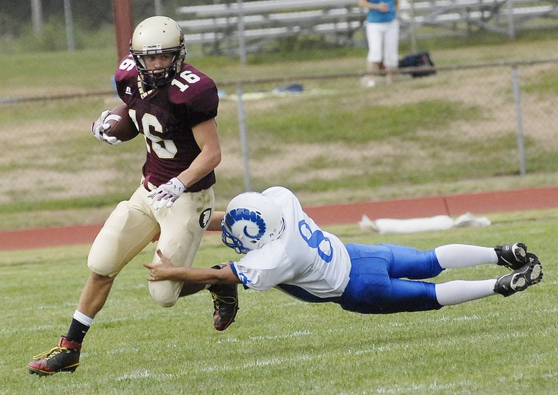 Andrew Libby, still just a junior for Thornton Academy, is the player to lead the Golden Trojans on offense as a runner and receiver, and he also plays defensive back.