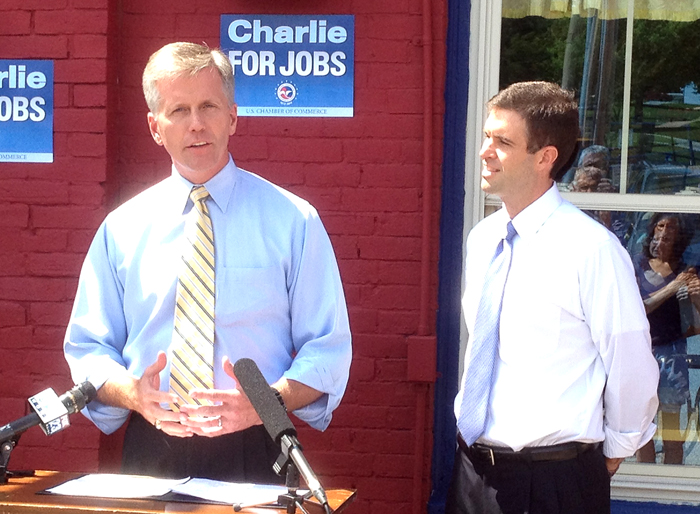 Rob Engstrom, at right, the U.S. Chamber of Commerce's national political director, praises Senate candidate Charlie Summers for his pro-business views at a news conference in Lewiston, one of three to be held around the state today.
