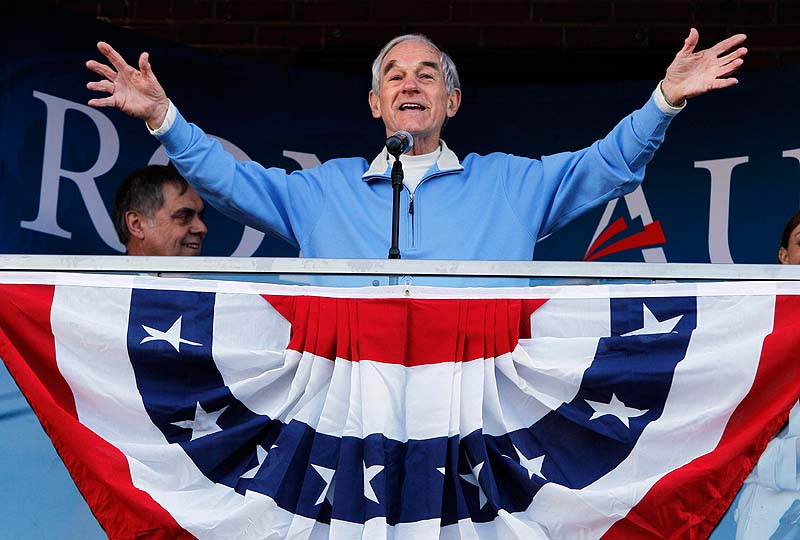 Republican presidential candidate Rep. Ron Paul, R-Texas, campaigns in Freeport, Maine, in this Jan. 28, 2012, photo.