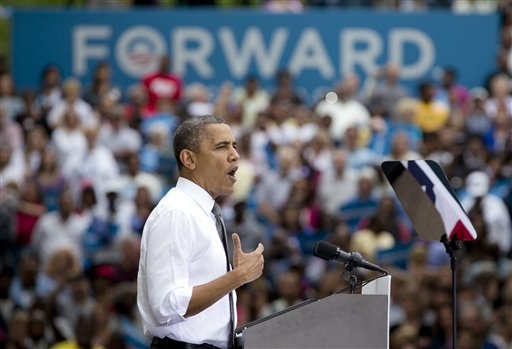 President Barack Obama speaks at a campaign event at Eden Park�s Seasongood Pavilion, Monday, Sept. 17, 2012, in Cincinnati, Ohio. (AP Photo/Carolyn Kaster)