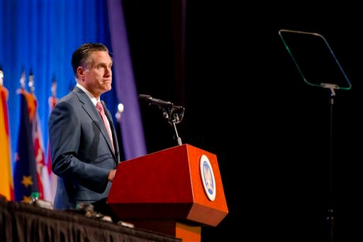 Republican presidential candidate, former Massachusetts Gov. Mitt Romney speaks to members of the National Guard Association Convention in Reno, Nev., Tuesday, Sept. 11, 2012. (AP Photo/Scott Sady) romney;nevada;reno;election