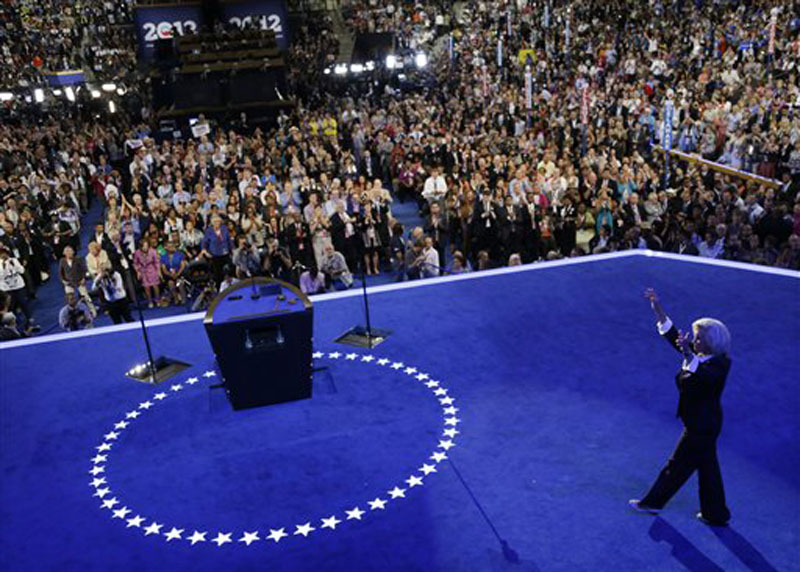 Women's rights activist Lilly Ledbetter makes her way to the podium to speak at the Democratic National Convention in Charlotte, N.C., on Tuesday, Sept. 4, 2012. (AP Photo/Charlie Neibergall)