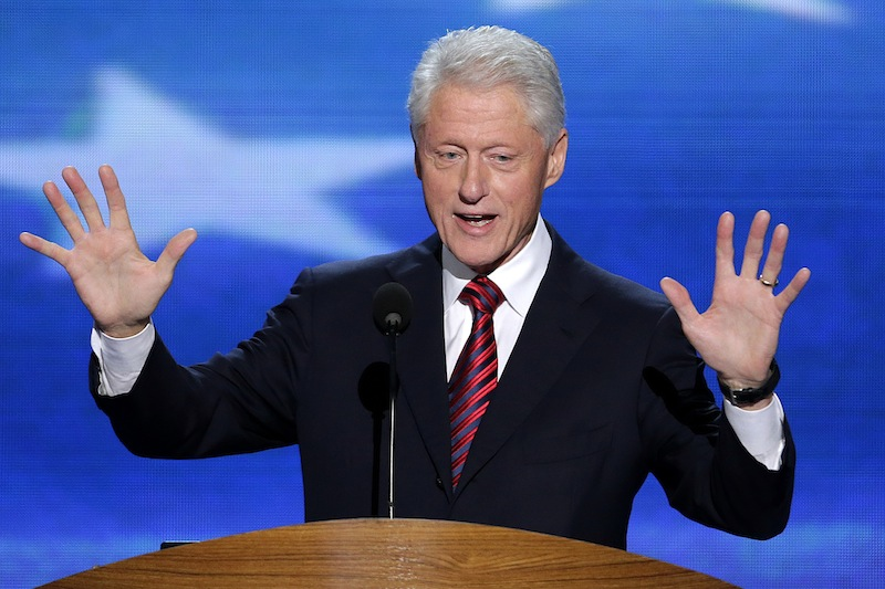 Former President Bill Clinton addresses the Democratic National Convention in Charlotte, N.C., on Wednesday, Sept. 5, 2012. (AP Photo/J. Scott Applewhite)