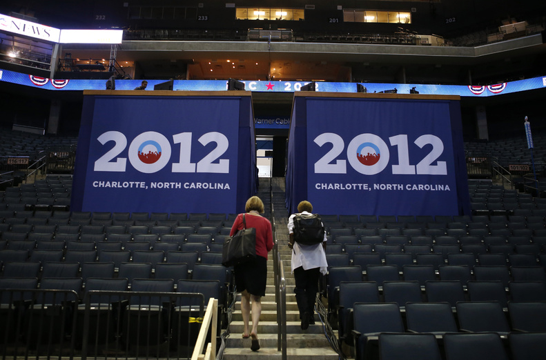 The Time Warner Cable Arena in Charlotte, N.C., is being prepared for the Democratic National Convention.