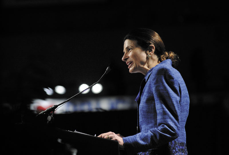 U.S. Sen. Olympia Snowe speaks during the Maine Republican Party State Convention in May. Republican strategist Karl Rove argues that Snowe should return any campaign money she accumulated before deciding to drop out of the Senate race in February.