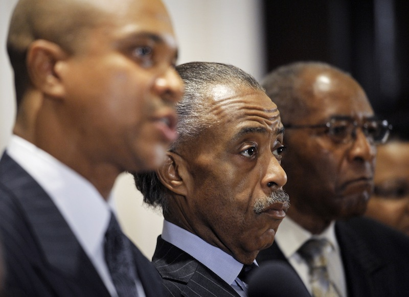 Rev. Delman Coates, senior pastor of Mt. Enon Baptist Church, Clinton, Md., left, Rev. Al Sharpton, president, National Action Network, center, and Rev. Amos Brown, senior pastor of Third Baptist Church, San Francisco, Calif., right, announce their support for the civil marriage of gay and lesbian couples during a news conference at the National Press Club in Washington, Friday, Sept. 21, 2012. The ministers urged Maryland residents to vote for Question 6 on the November ballot. (AP Photo/Cliff Owen)