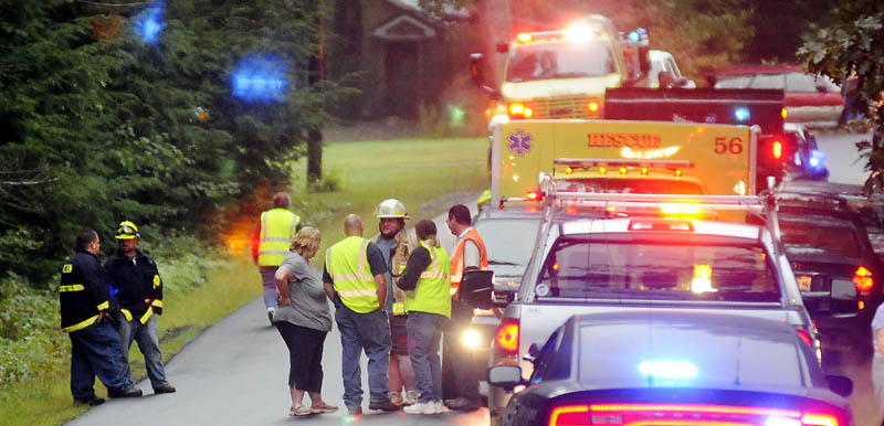 MOUNT VERNON FATALITY: Mount Vernon firefighters congregate Tuesday afternoon at the scene of accident on the Wings Mills Road in Mount Vernon that claimed the life of a local man.