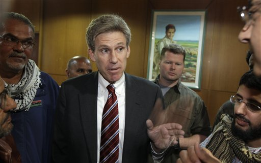U.S. envoy Chris Stevens in an April 11, 2011, photo. Libyan officials say Stevens and three other Americans have been killed in an attack on the U.S. consulate in the eastern city of Benghazi by protesters angry over a film that ridiculed Islam's Prophet Muhammad.