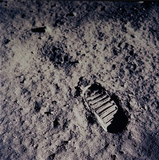 "In this July 20, 1969 file photo, a footprint left by one of the astronauts of the Apollo 11 mission shows in the soft, powder surface of the moon. Commander Neil A. Armstrong and Air Force Col. Edwin E. ""Buzz"" Aldrin Jr. became the first men to walk on the moon after blastoff from Cape Kennedy, Fla., on July 16, 1969. The Associated Press photo/NASA"