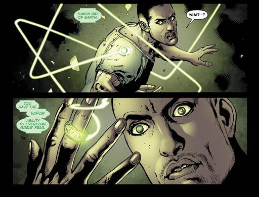 This image provided by DC Comics via Bender/Helper Impact shows interior panels of the November 2012 issue of the latest Green Lantern series featuring the character Simon Baz, DC Comics most prominent Arab-American superhero and the first to wear a Green Lantern ring.