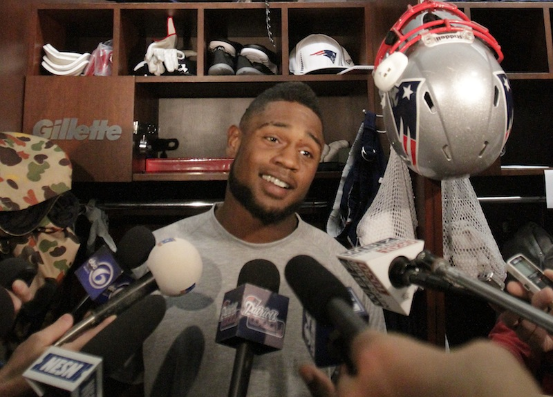 New England Patriots running back Stevan Ridley responds to a reporter's question during a media availability at the NFL football team's facility in Foxborough, Mass., Wednesday, Sept. 12, 2012. (AP Photo/Lindsey Anderson)
