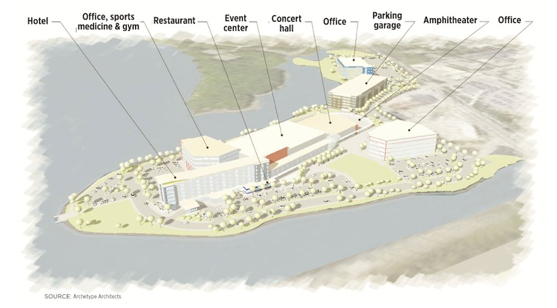 An artist rendering of The Forefront, a $105 million project planned for Thompson's Point in Portland.