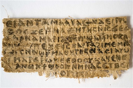 A fourth-century fragment of papyrus that Harvard divinity professor Karen L. King says is the only existing ancient text that quotes Jesus explicitly referring to having a wife.