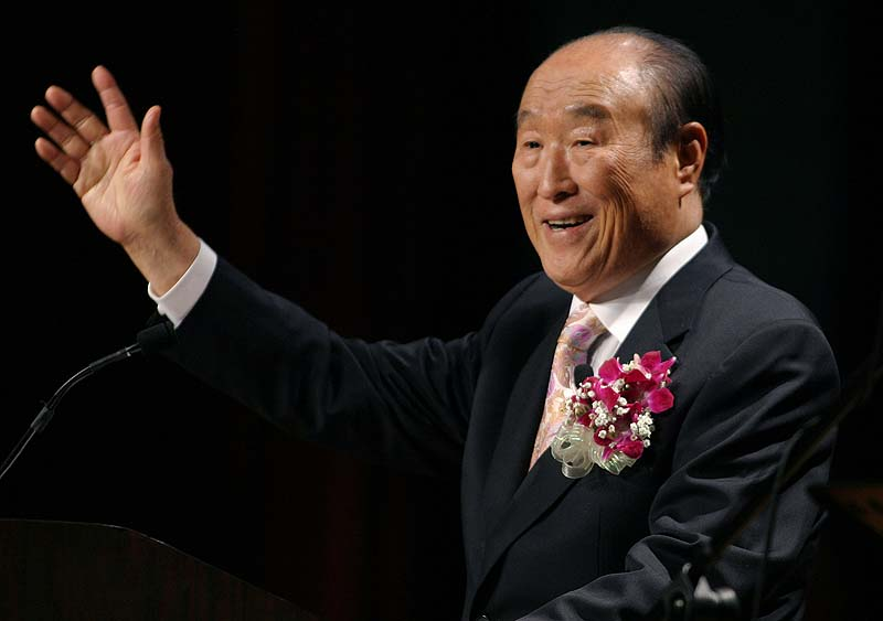 """In this 2005 file photo, Unification Church leader Rev. Sun Myung Moon speaks during his """"Now is God's Time"""" rally in New York. Moon, self-proclaimed messiah who founded Unification Church, has died at age 92 church officials said."""
