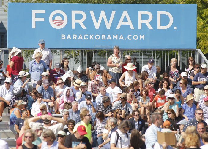 Supporters start filling the stands along a field at Strawbery Banke Museum in Portsmouth, N.H., hours before President Obama's speech on Friday.