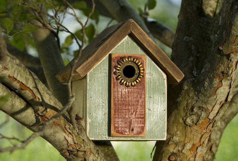 No birdhouse made by Little is like another. He often uses interesting old metal pieces for the feeder hole or perch area.