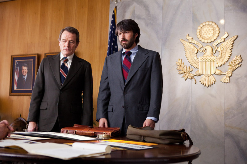 "Bryan Cranston, left, and Ben Affleck in ""Argo,"" about the 1979 Iran hostage crisis."