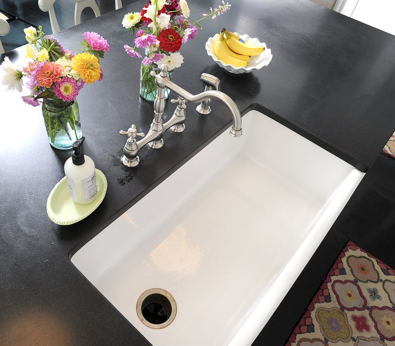 "Christine Laughlin favors ""the traditional coastal look,"" which in her kitchen includes a couple of farmhouse sinks."