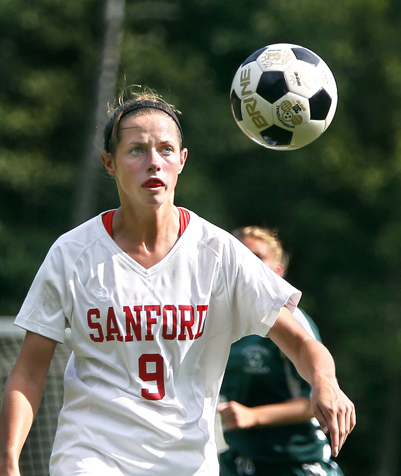 Taylor Littlefield of Sanford was working on headers in practice, and found herself out three weeks with a concussion.