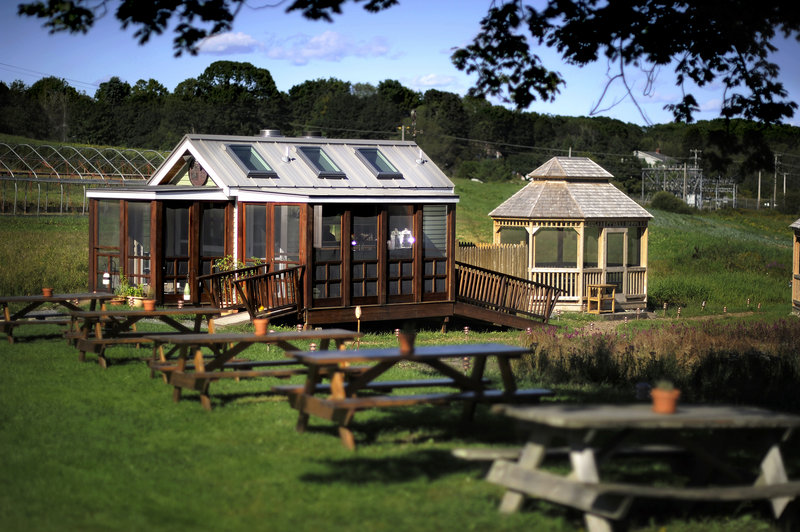Dine at picnic tables or in the screened gazebos at The Well at Jordan's Farm.