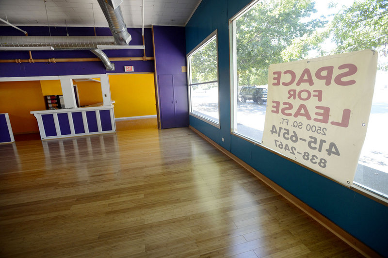 A sign advertising space for lease hangs in the former Zumba studio of Alexis Wright on Kennebunk's York Street on Wednesday. Wright's studio didn't do much business, says a neighbor who wondered how she paid her rent.