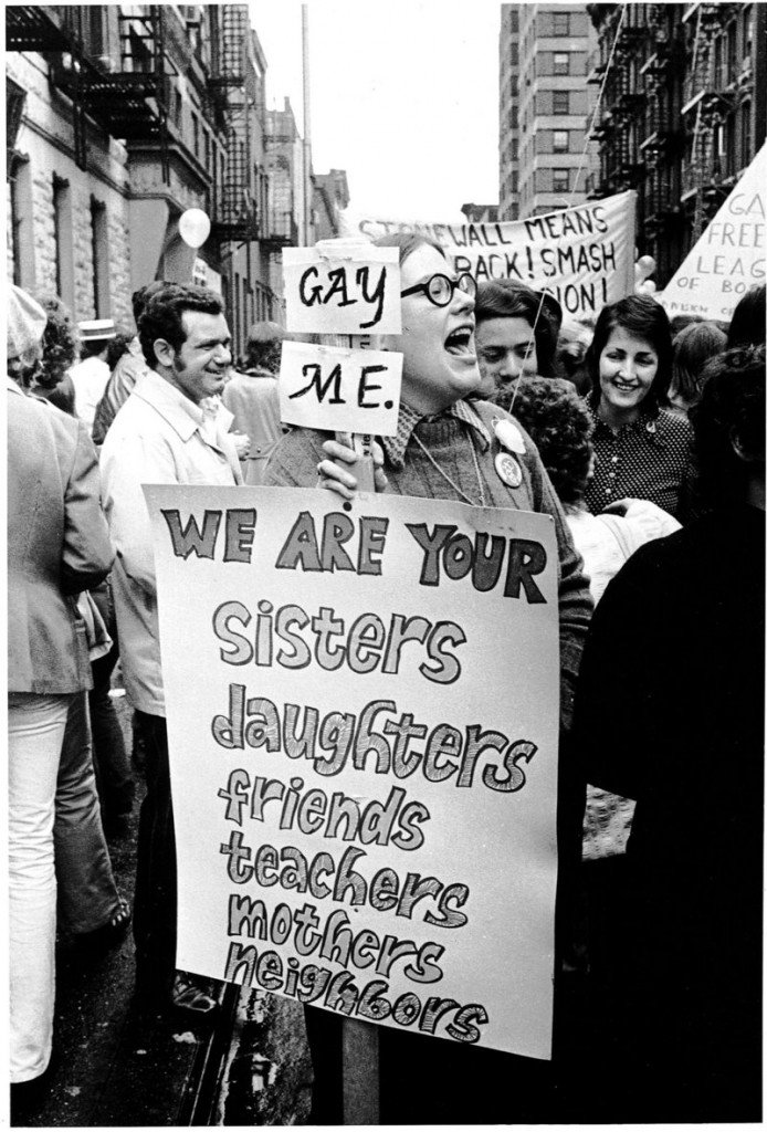 """Gay Pride March, New York City,"" 1971 (two years after the Stonewall Riot), by Charles Gatewood."