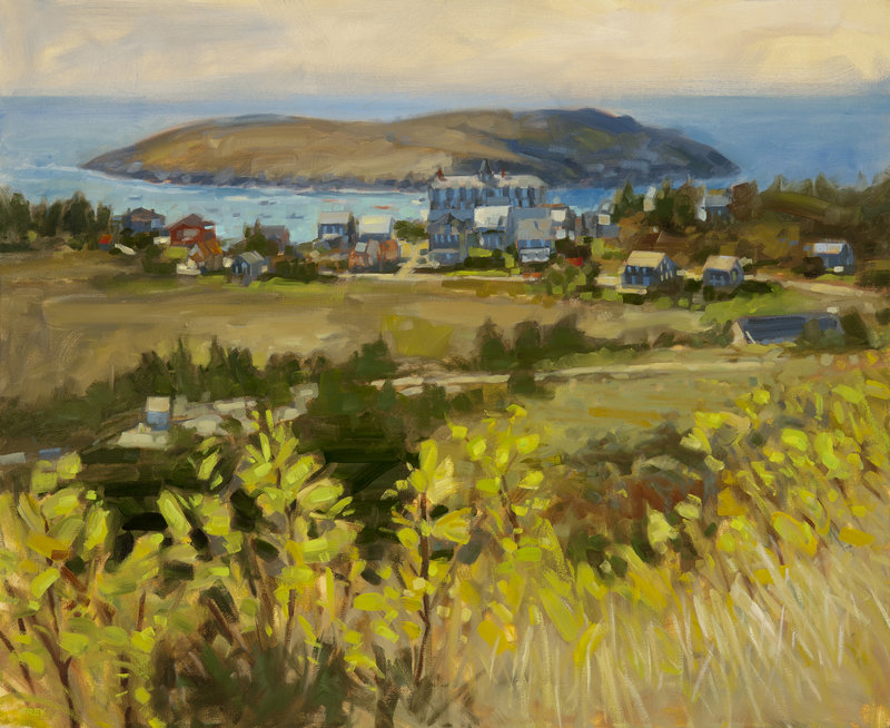 """""""Bird's Eye View, Monhegan,"""" from """"Philip Frey: New Paintings,"""" opening Thursday at Gleason Fine Art in Boothbay Harbor."""