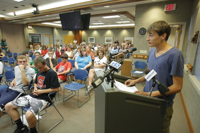 Jack Sullivan, the Scarborough High School senior class president, addresses an Aug. 16 School Board discussion on the student parking fee, which was halved because of student opposition. A reader says the new fee will help make up for cuts in state aid to education.