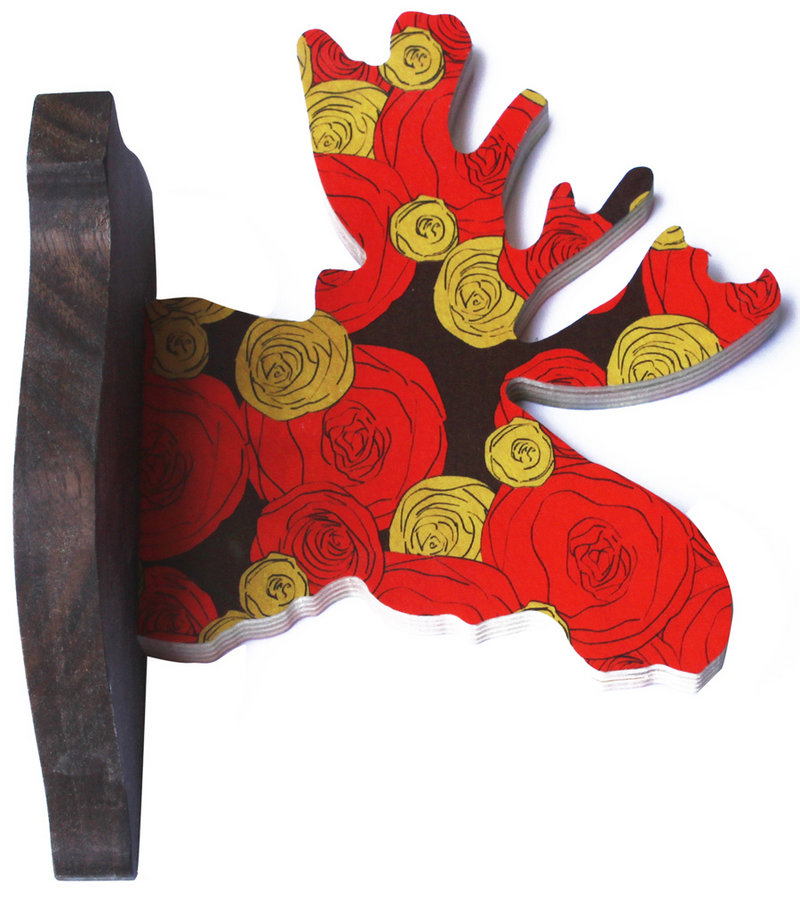 A Maria Rose moose wall hook by L.A.-based designer Annabel Inganni.