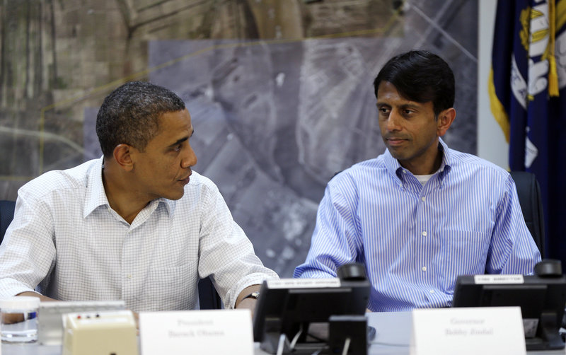 President Obama and Gov. Bobby Jindal hold a briefing on Monday about disaster relief in LaPlace, La., an area flooded by Hurricane Isaac.