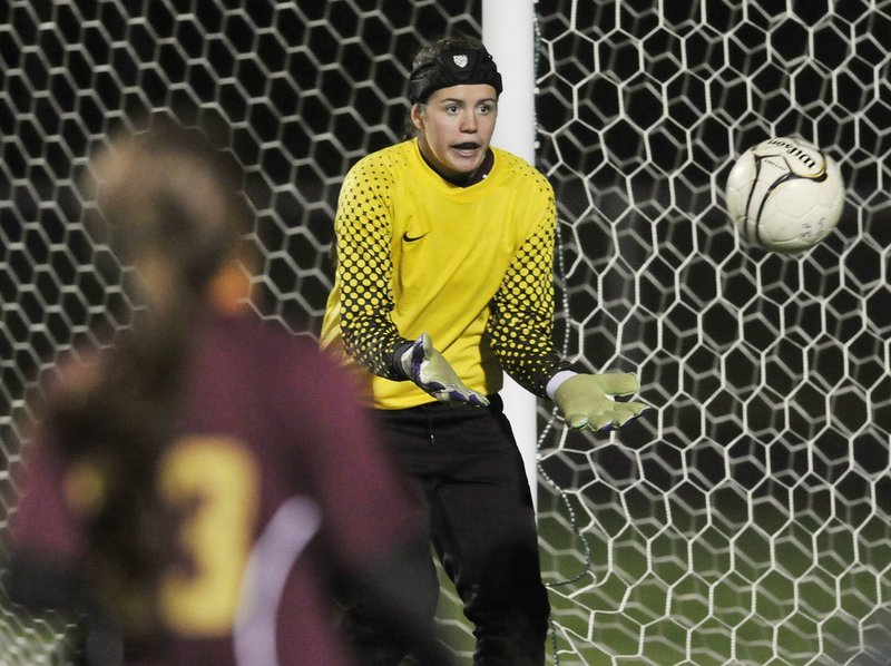 Emily Richard, who had nine shutouts last season, should be tough to beat again this year for Thornton Academy.