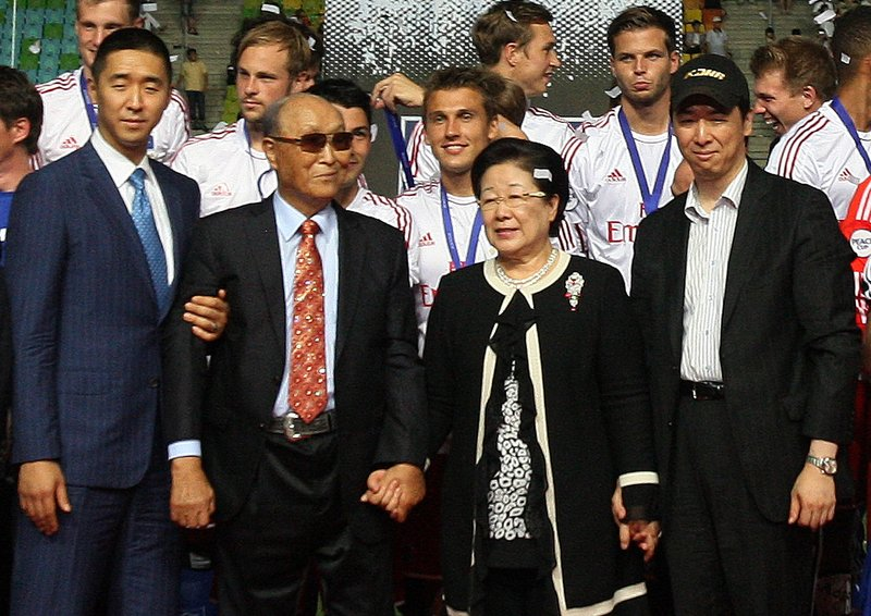 The Rev. Sun Myung Moon, founder of the Unification Church, second from left, poses with his wife, Hak Ja Han Moon, second from right, and his sons the Rev. Hyung-jin Moon, left, and Kook Jin Moon, in Suwon, South Korea, on July 22.