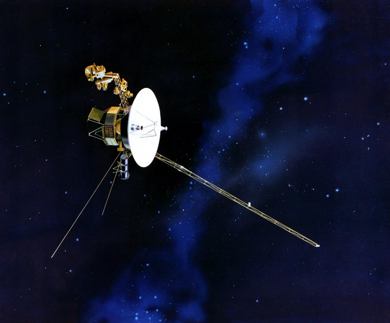 An artist's rendering from NASA depicts a Voyager spacecraft. Launched in 1977, the Voyager 1 and Voyager 2 are exploring the edge of the solar system.