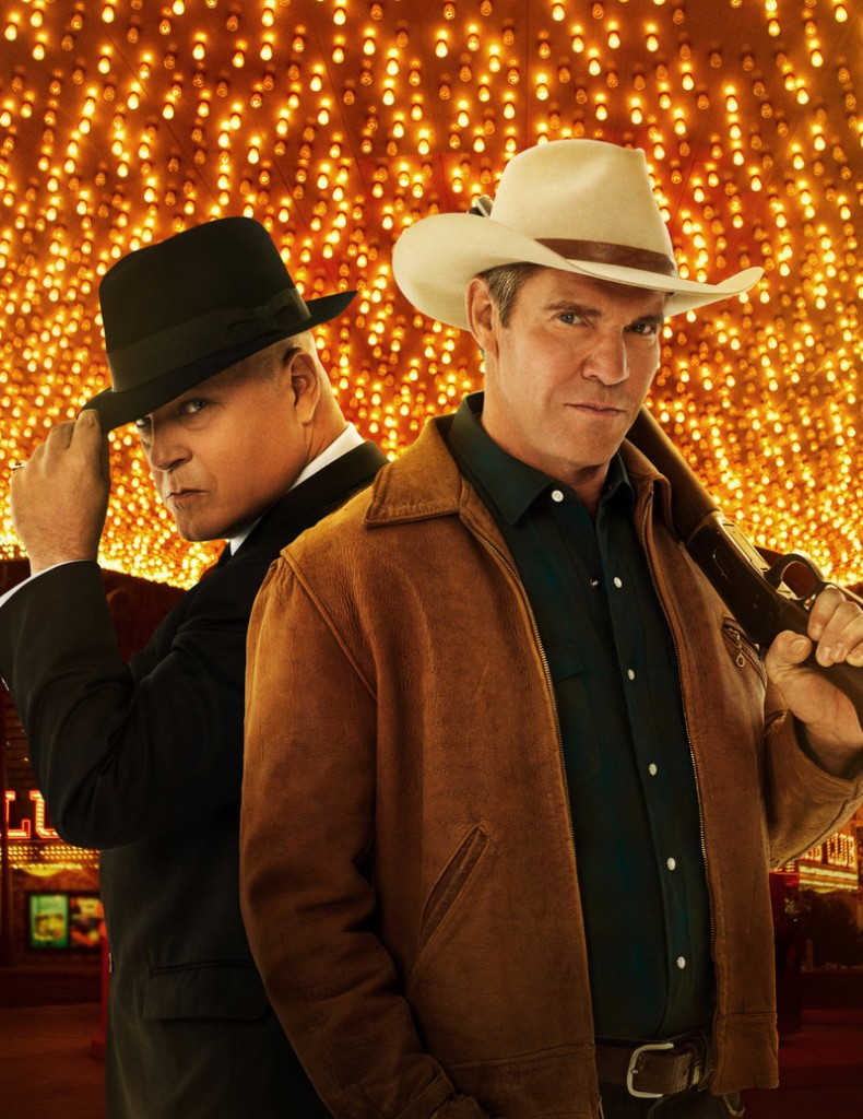 "Michael Chiklis, left, and Dennis Quaid in CBS's ""Vegas."""